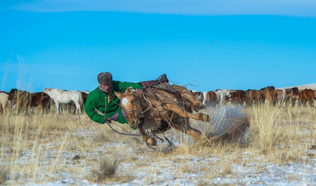 Homme mongol en hiver